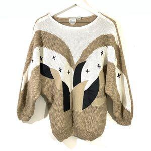 Vintage Tan & Cream Dolman Sleeve Graphic Sweater